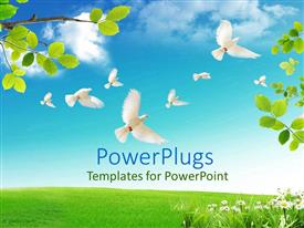 PowerPlugs: PowerPoint template with lots of white birds flying away from a tree branch