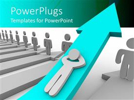 PowerPlugs: PowerPoint template with lots of white and blue arrows with lots of characters