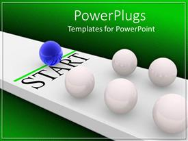 PowerPlugs: PowerPoint template with lots of white and blue balls with a text that spell out the word ' start '