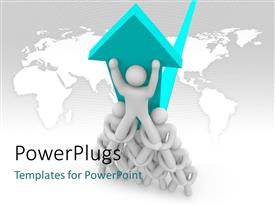 PowerPlugs: PowerPoint template with lots of white colored 3D human characters holding themselves