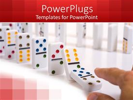 PowerPlugs: PowerPoint template with lots of white colored dominoes on a white background