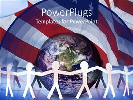 PowerPlugs: PowerPoint template with lots of white colored paper cut human figures round an earth
