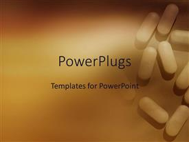 PowerPlugs: PowerPoint template with lots of white colored pills on the floor on brown background