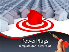 PowerPlugs: PowerPoint template with lots of white houses with a red one as target