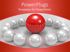PowerPlugs: PowerPoint template with lots of white pearls with a red one in the middle
