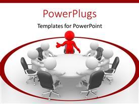 PowerPlugs: PowerPoint template with lots of  white and red 3D characters sitting on a round table
