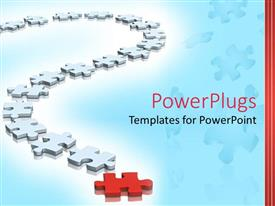 PowerPoint template displaying lots of white and red colored puzzles on a curved line