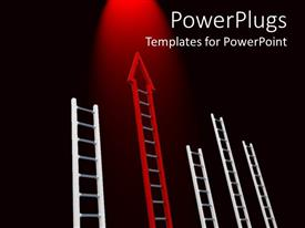 PowerPoint template displaying lots of white and red ladders on a black background
