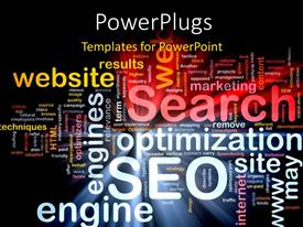 PowerPlugs: PowerPoint template with lots of words in white yellow and pink on a black background