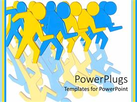 PowerPlugs: PowerPoint template with lots of yellow and blue human characters getting set for a race