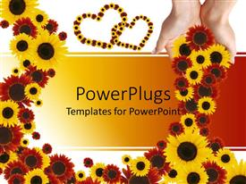 PowerPlugs: PowerPoint template with lots of yellow and red colored flowers with two love shapes