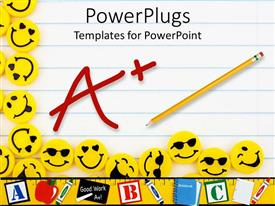 PowerPoint template displaying lots of yellow smiley faces on a lined paper background happy days