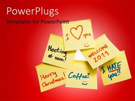 PowerPlugs: PowerPoint template with lots of yellow sticky notes with various hand written messages