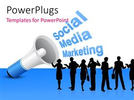 PowerPlugs: PowerPoint template with loudspeaker announcing Social Media Marketing to group of silhouettes