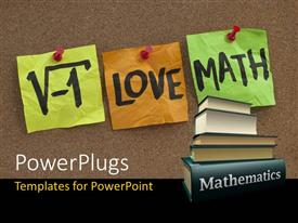 PowerPlugs: PowerPoint template with i love math humorous concept with mathematics books