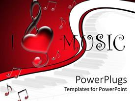 PowerPoint template displaying i love music text surrounded by music tones in red-white background