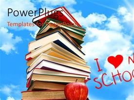 PowerPlugs: PowerPoint template with i love my school concept with pile of books with sky