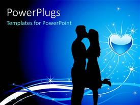 Beautiful theme having love symbol in background and light sparkles with silhouette of couple kissing