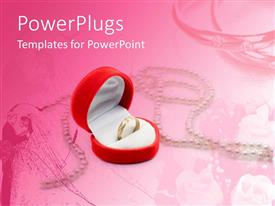 PowerPlugs: PowerPoint template with love theme with gold engagement ring in heart shaped jewelry box on wedding depiction fading in pink background