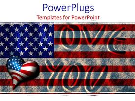 PowerPlugs: PowerPoint template with i Love You written in sand with American flag overlay