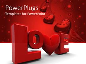 PowerPlugs: PowerPoint template with love written in a stylish way with a number of hearts in the background
