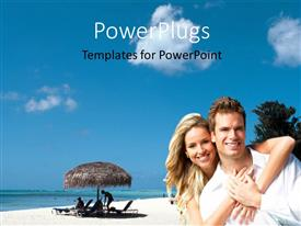 PowerPoint template displaying a lovely couple having fun over a beach setting