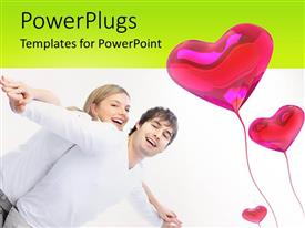 PowerPoint template displaying a lovely couple playing with three heart balloons beside them