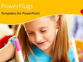 PowerPlugs: PowerPoint template with little girl learning in classroom with pencil in hand