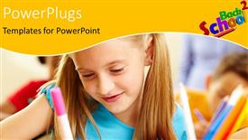 PowerPoint template displaying little girl learning in classroom with pencil in hand