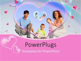PowerPlugs: PowerPoint template with lovely and happy family collage with hearts and stars