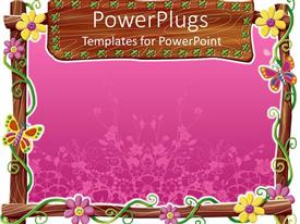 PowerPlugs: PowerPoint template with a lovely purple colored flower frame won a white background