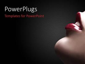 PowerPlugs: PowerPoint template with lower portion of woman's face with parted red lips