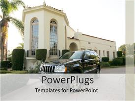 PowerPoint template displaying luxury mansion home with SUV parked in front
