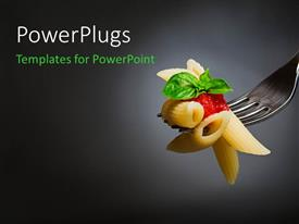 PowerPlugs: PowerPoint template with macaroni pasta with tomato and basil on fork, Fine Italian food