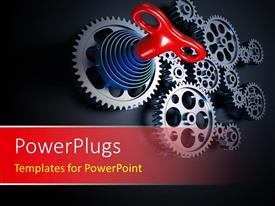 PowerPoint template displaying a machine concept using set of interconnected gears with black color