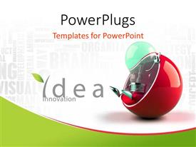PowerPlugs: PowerPoint template with a machine sitting in a couch with a number of words in background