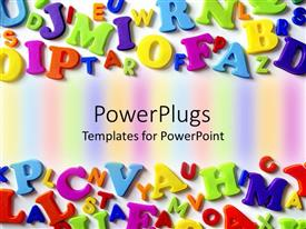 PowerPlugs: PowerPoint template with macro composition of colorful plastic letters arranged at opposite ends of template