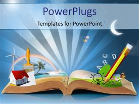 Elegant PPT theme enhanced with magical book with pencil, alphabets, a house model, paint brush, a wind mill, the moon and a butterfly with blue rays