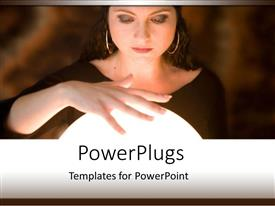 PowerPlugs: PowerPoint template with a magician with blurred background and a magic ball