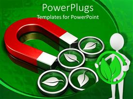 PowerPlugs: PowerPoint template with a magnet along with a number of leaf symbols attached