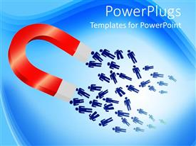 PowerPoint template displaying a magnet attracting a number of people towards itself