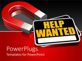 PowerPlugs: PowerPoint template with a magnet with the signs of help wanted