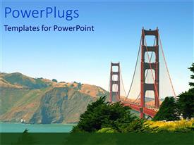 PowerPlugs: PowerPoint template with magnificent bridge over water body and green leafy field