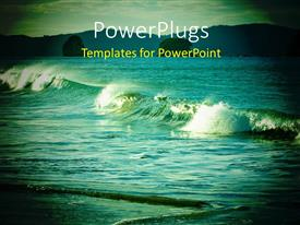 PowerPoint template displaying magnificent view of the waves on a warm evening light