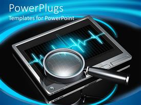 PowerPlugs: PowerPoint template with magnifier glass on top of a silver tablet monitor on an abstract black and blue background