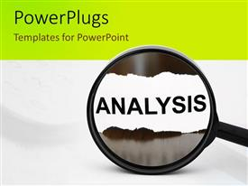 PowerPlugs: PowerPoint template with a close up view of a magnifying glass with some text