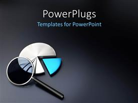 PowerPlugs: PowerPoint template with magnifying glass atop three dimensional exploded pie chart