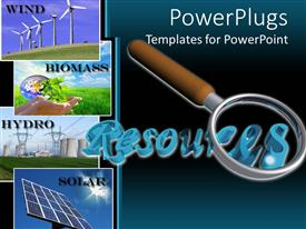 PowerPlugs: PowerPoint template with a magnifying glass with bluish background