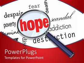 PowerPlugs: PowerPoint template with magnifying glass emphasizes Hope in word cloud filled with negative terms
