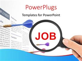 PowerPlugs: PowerPoint template with hand holds magnifying glass over job with dart stuck in document